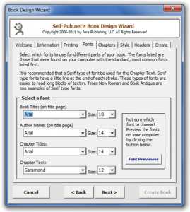 (Screen shot of the Fonts tab of the Book Design Wizard 2.0)