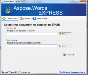 (Screen shot of Aspose.Words EXPRESS software)