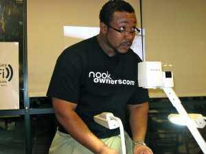 (Photo of myself teaching the first NookOwners.com class with Elmo Document Camera January 2010)