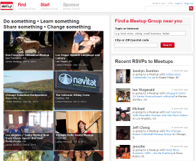 (Screen Shot of Meetup.com Home Page)
