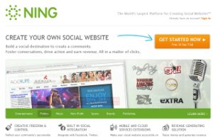 (screen shot of Ning.com's Home Page)