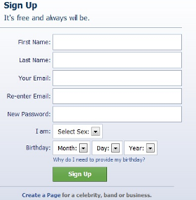 (Signup Area on the Facebook.com Home Page)