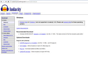 (Screenshot of the Audacity Downloads Page for Windows XP or Older)