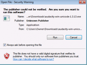 "(Screenshot of the Windows Security Warning, just click ""Run"".)"