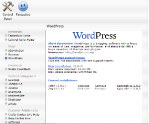 (Fantastico Screenshot with WordPress installations)